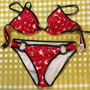 Victoria's Secret bikini red floral XS 34A